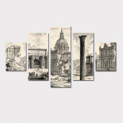 QiaoJiaHuaYuan No Frame Canvas  Drawing Room Sofa Background European Castle Building Decoration Hanging Print 5Pcs -