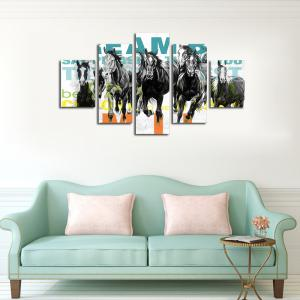 QiaoJiaHuaYuan No Frame Canvas Living Room Sofa Background Decoration Hanging Print  Eight Horses 5Pcs -