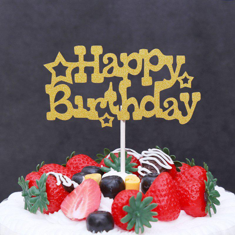 Trendy 5Pcs Happy Birthday Flag Cake Topper Party Favors Sticker Decoration Card Baking DIY Accessory