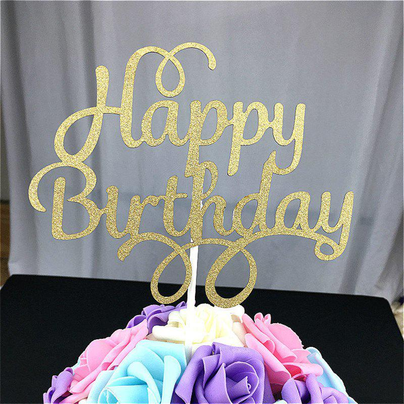 Cheap 5pcs Creative Cake Topper Happy Birthday Flag Single Stick for Party Decoration Baking Supplies