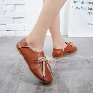 Ms Round Head Lace-Up Casual Shoes with Flat Sole -