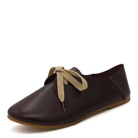 Shop Ms Round Head Lace-Up Casual Shoes with Flat Sole