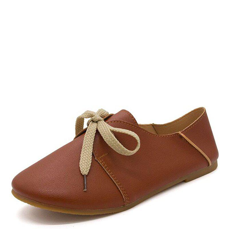 New Ms Round Head Lace-Up Casual Shoes with Flat Sole