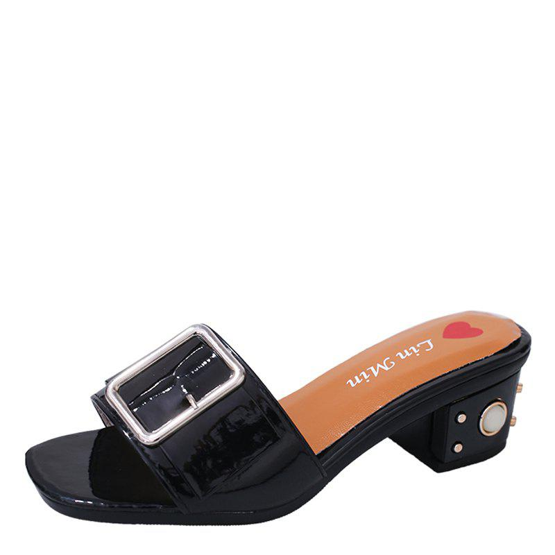 New Summer New Belt Buckle Thick Fashion Female Sandals