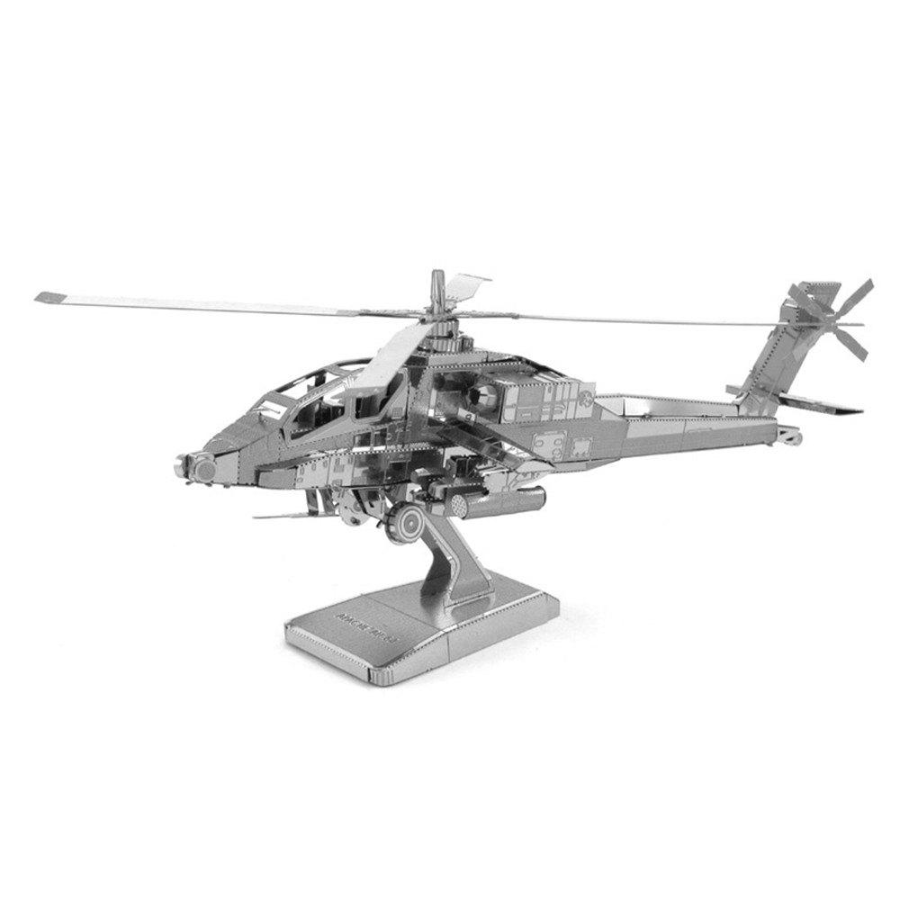 Fancy Creative Apache Helicopter 3D Metal High-quality DIY Laser Cut Puzzles Jigsaw Model Toy