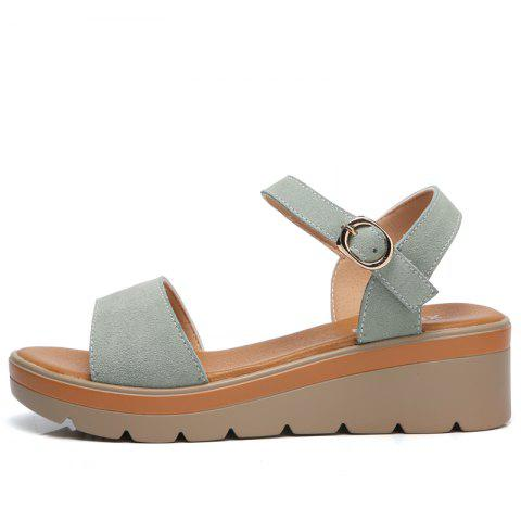 Store New Women Flat Slope with A Buckle New High-Heeled Sandals
