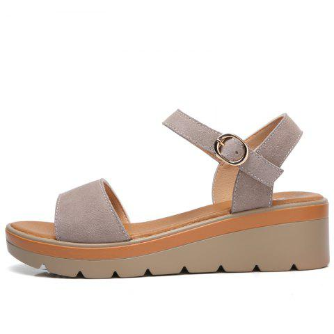 Affordable New Women Flat Slope with A Buckle New High-Heeled Sandals