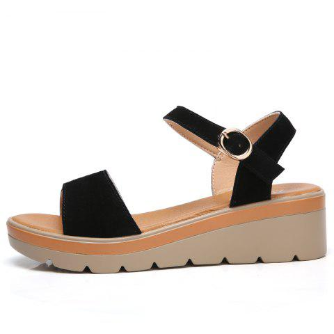 Fashion New Women Flat Slope with A Buckle New High-Heeled Sandals