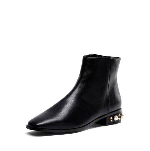 RoseGal Faux Pearl Low Heeled Pu Boots