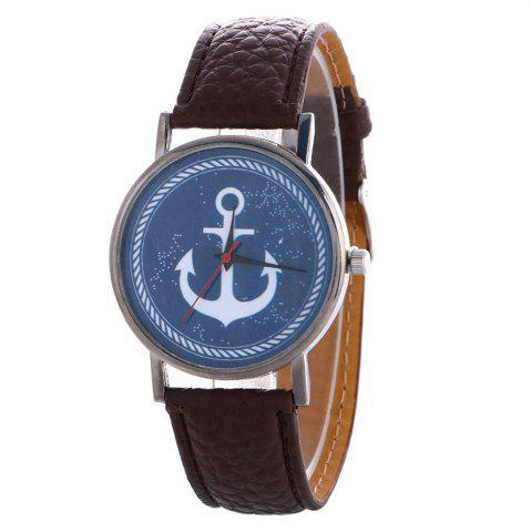 Best Anchor Pattern Leather Band Watch