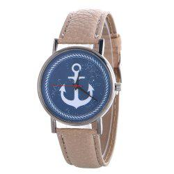 Anchor Pattern Leather Band Watch -