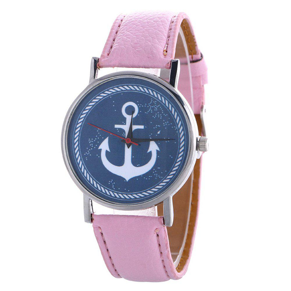 Shop Anchor Pattern Leather Band Watch