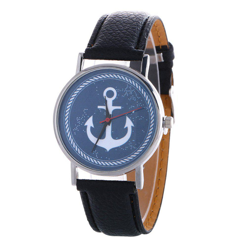 Shops Anchor Pattern Leather Band Watch
