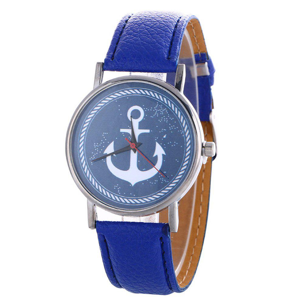 Sale Anchor Pattern Leather Band Watch