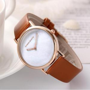 Hannah Martin Simple Leather Band Women Quartz Watch for Students -