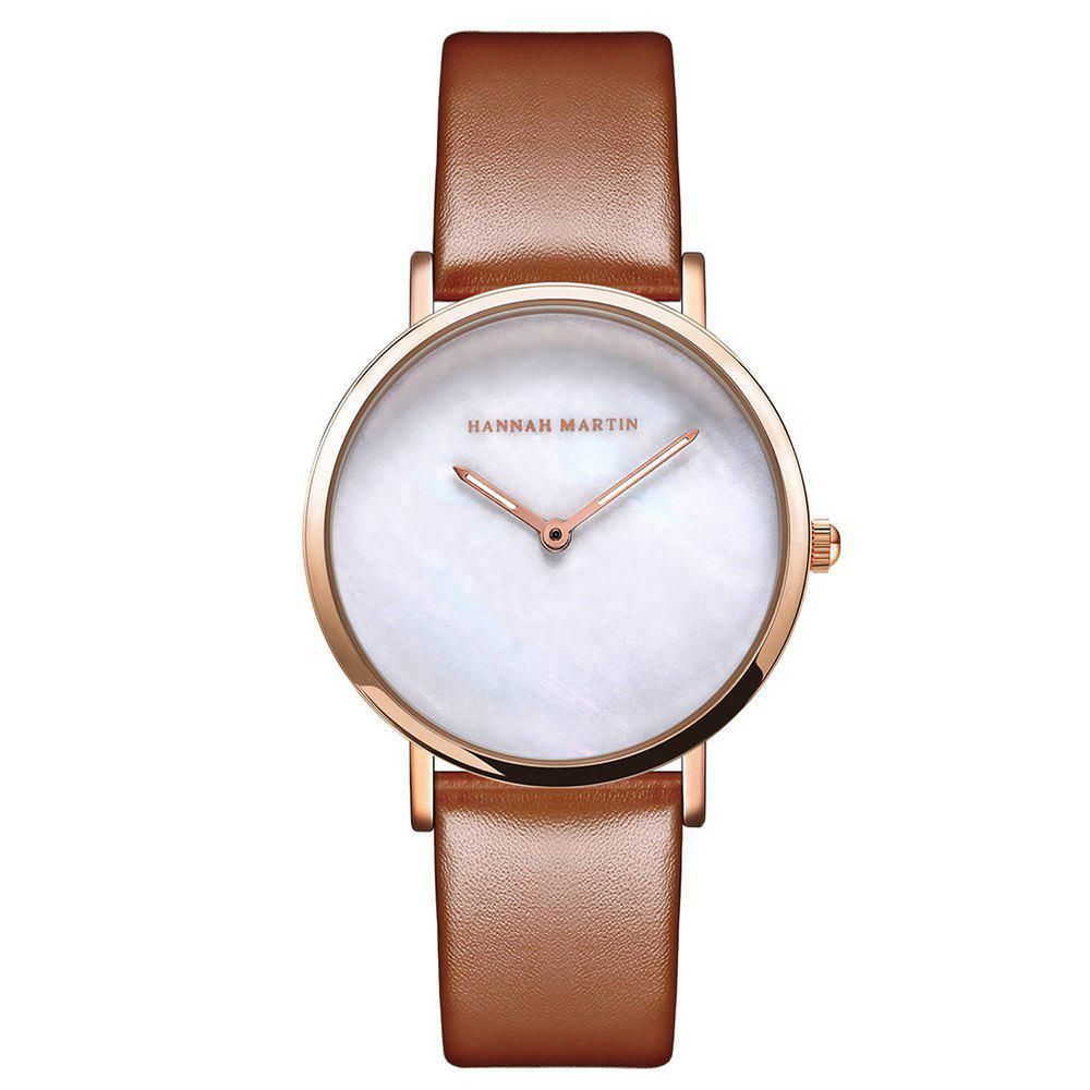 Hot Hannah Martin Simple Leather Band Women Quartz Watch for Students