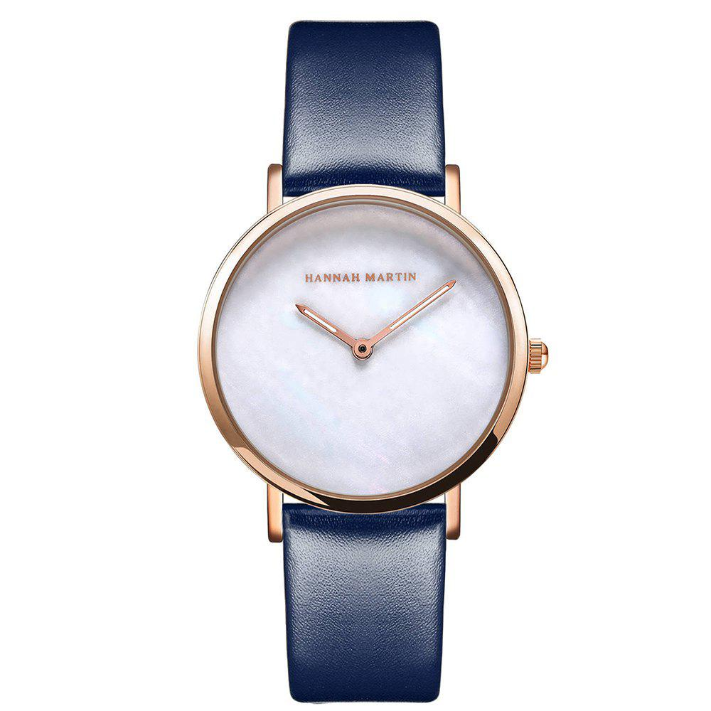 Unique Hannah Martin Simple Leather Band Women Quartz Watch for Students