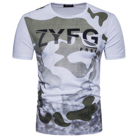 Cheap 2018 New Men's Casual Camouflage Printed Short-Sleeved T-Shirt