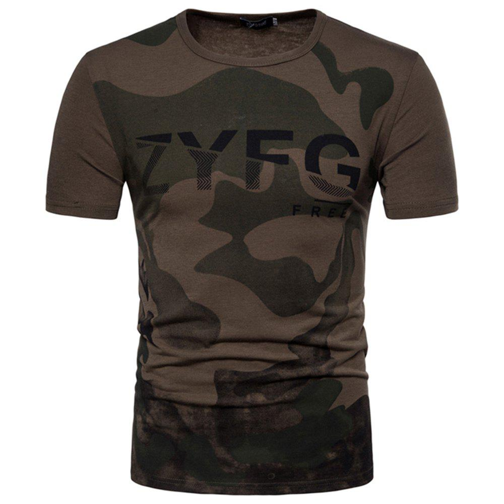 Online 2018 New Men's Casual Camouflage Printed Short-Sleeved T-Shirt