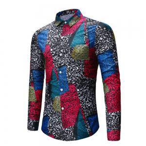2018 New Men's Color Patch Long-Sleeved Shirt -