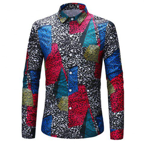 Online 2018 New Men's Color Patch Long-Sleeved Shirt