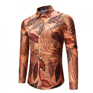 2018 New Men's Leaves Pattern Long-Sleeved Shirt -