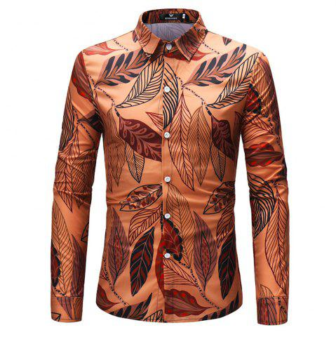 Affordable 2018 New Men's Leaves Pattern Long-Sleeved Shirt