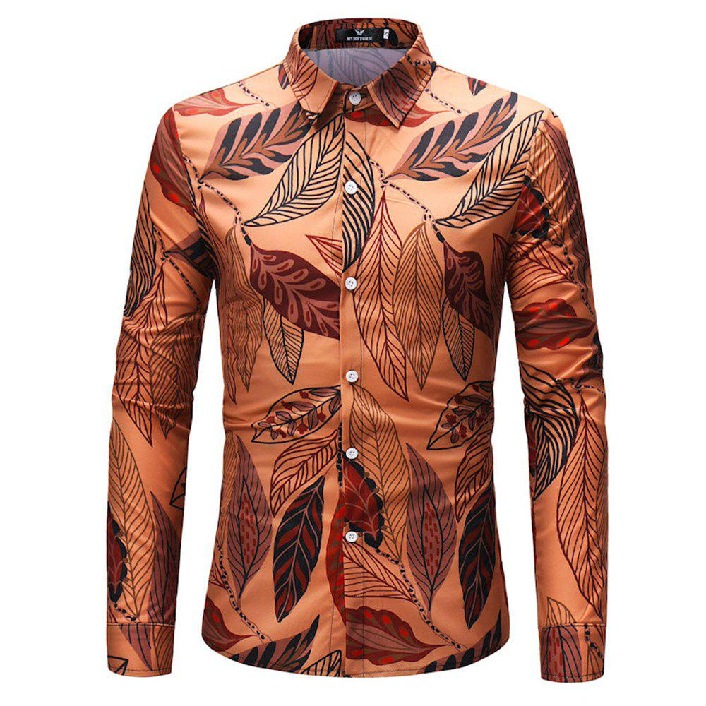 Outfits 2018 New Men's Leaves Pattern Long-Sleeved Shirt