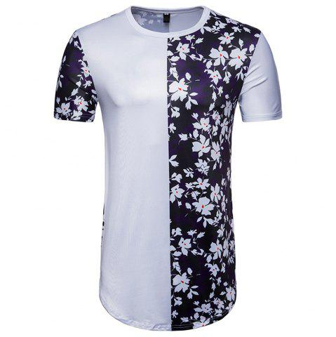 Discount New Men's Digital Printing Flowers Spell Color Short-Sleeved Hip Hop T-Shirt