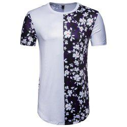 New Men's Digital Printing Flowers Spell Color Short-Sleeved Hip Hop T-Shirt -