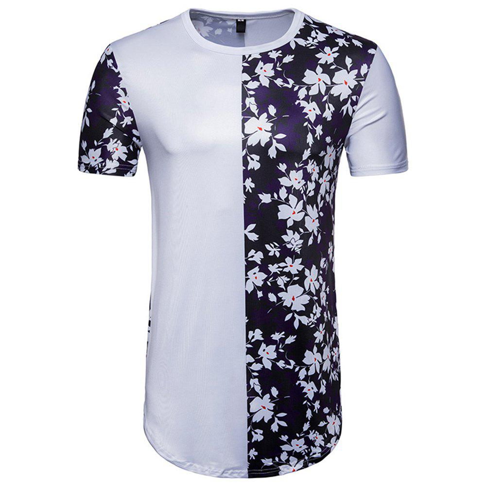 Fashion New Men's Digital Printing Flowers Spell Color Short-Sleeved Hip Hop T-Shirt