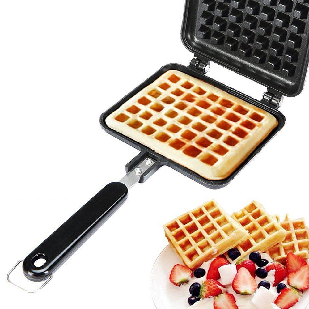 Chic Non-Stick Waffle Cake Maker Mould Tray with Handle for Stovetop