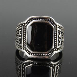 Fashion Black Gemstone Carved Ring Men Jewelry -