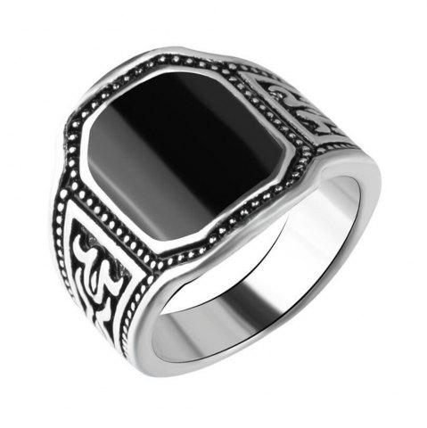 Cheap Fashion Black Gemstone Carved Ring Men Jewelry