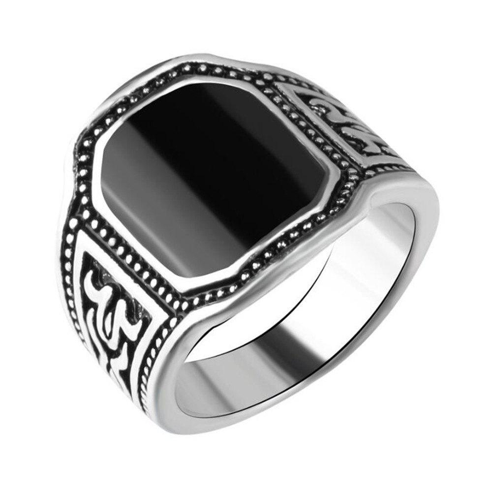 Fancy Fashion Black Gemstone Carved Ring Men Jewelry