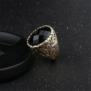 Fashion Face Black Gemstone Ring Hommes Bijoux -