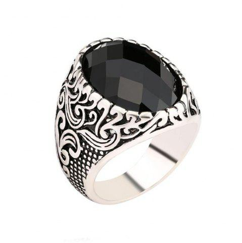 Chic Fashion Face Black Gemstone Ring Men Jewelry