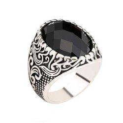 Fashion Face Black Gemstone Ring Men Jewelry -