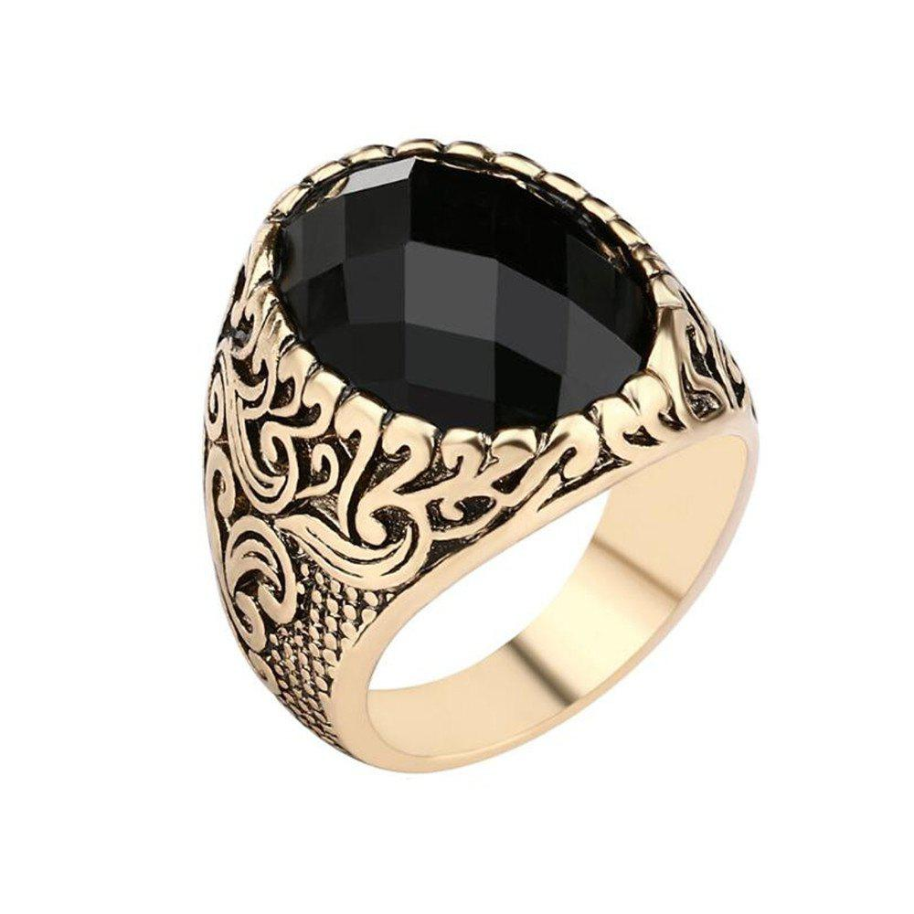 Cheap Fashion Face Black Gemstone Ring Men Jewelry
