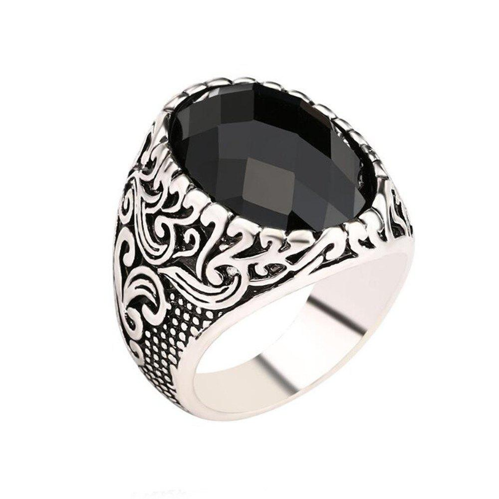 Store Fashion Face Black Gemstone Ring Men Jewelry