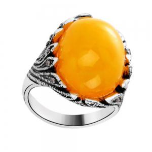 Fashion Oval Diamond Yellow Jewel Ring Woman -