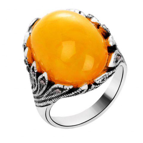 Trendy Fashion Oval Diamond Yellow Jewel Ring Woman
