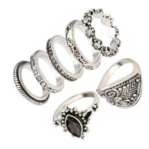 7PCS Fashion Diamond Black Gemstone Ring Woman -