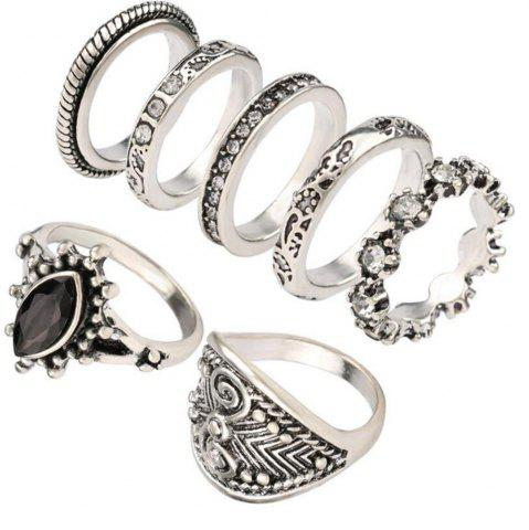 Online 7PCS Fashion Diamond Black Gemstone Ring Woman