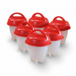 6Pcs Silicone Egglettes Egg Cup Cooker Hard Boiled Eggs Without Shell -