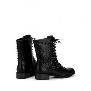 Lace Up Zipper Studded Boots -