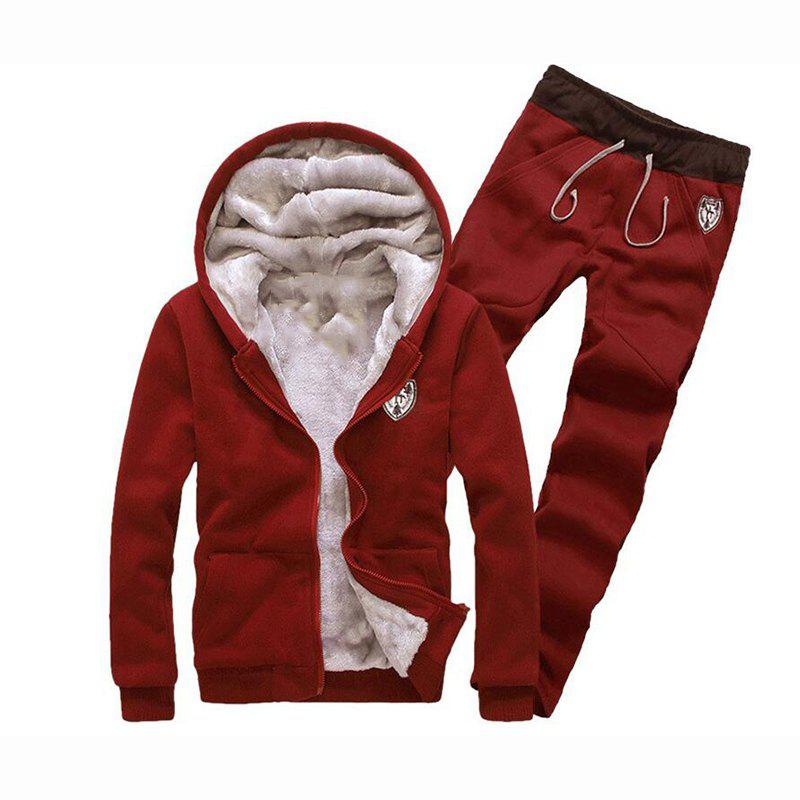 Discount Men's Sports Casual Daily Hoodie Solid Hooded Micro elastic Cotton Long Sleeves Suit