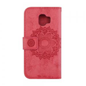 For Samsung Galaxy J2 Pro 2018 Case Mandala Flower Embossed Faux Leather Cover -