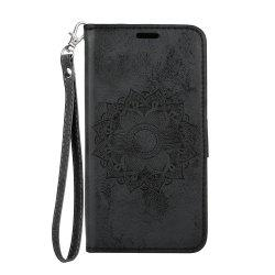 For Samsung Galaxy A5 2018 Leather Case Embossed Mandala Pattern Pouch Cover -