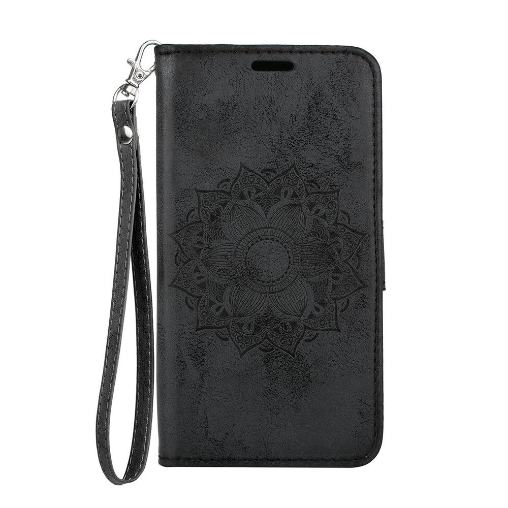 Unique For Samsung Galaxy A5 2018 Leather Case Embossed Mandala Pattern Pouch Cover